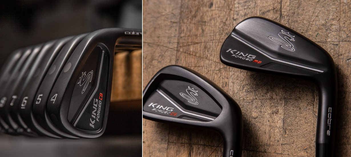 KING Forged CB MB Irons with wood background